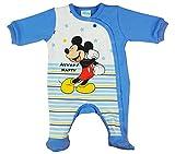 Langarm Baby Jungen Mickey Mouse Strampler Overall Weiß Blau Disney mit Füsschen 100% Baumwolle in Größe 56 62 68 74 für 0 3 6 Monate und Frühchen mit Patentknöpfe und Fuß Farbe Blau, Größe 74