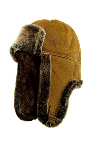 DX-Exclusive wear AMCS-0003 Bonnet d'aviateur en fourrure de mouton pour homme - Marron - L