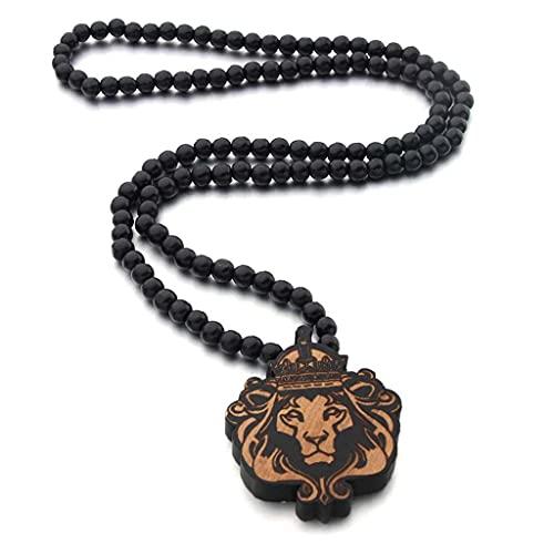 Pinicecore Rey Perlas Colgante De Collar De Bolas De Madera Grabado Marcado Larga Pendiente Animal Cadena De Hip Hop Ropa