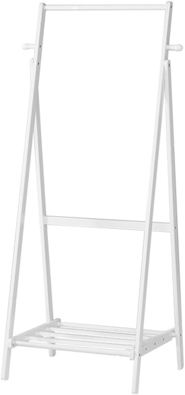 JIANFEI Home Floor Standing Coat Rack Stand Hanger Hat 2 Hooks Collapsible Hangers 1 Layer Shelf 4 Legs, Bamboo (color   White-60cm51  150cm)