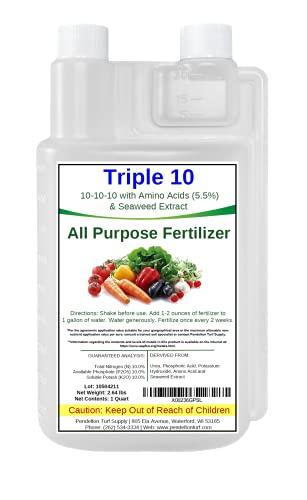 Triple 10 All Purpose Liquid Fertilizer 10-10-10 with Amino Acids (5.5%) & Seaweed Extract (32oz)