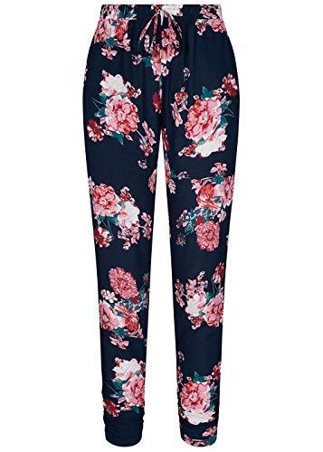 Hailys Damen Viskose Sommer Hose Deko Tunnelzug Blumen Muster Navy blau rosa rot