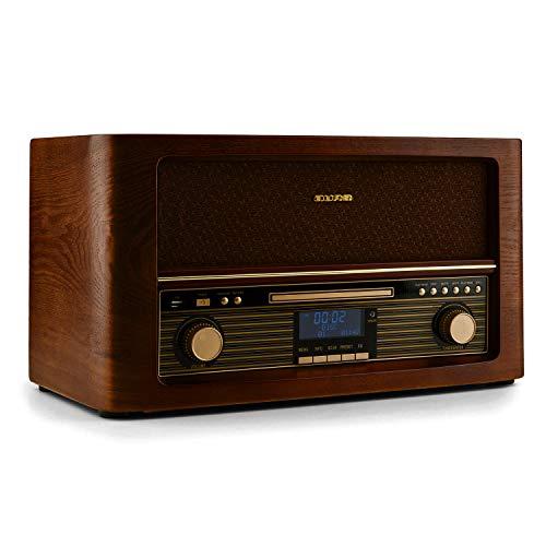 auna Belle Epoque 1906 Stereoanlage - Retroanlage, Digitalradio, UKW und DAB+, Bluetooth, Fernbedienung, USB, Digitalisierungsfunktion, Hellbraun