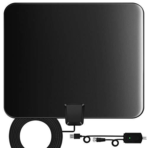TV Antenne,130 Miles Indoor Digitale HD-Fernseher verstärktes Antennensignal 4K 1080P HD VHF UHF DVB-T/DVB-T2 Fernsehantenne für Lokalsender mit Signalverstärkerunterstützung für alle Fernsehsender