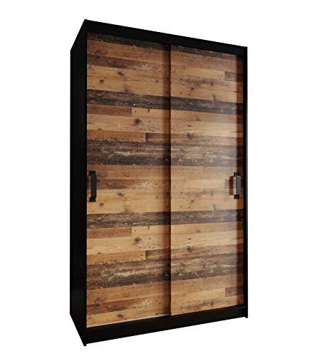 KRYSPOL Garderobenschrank Play 130 Kleiderschrank mit Kleiderhaken und Einlegeböden, Schwebetürenschrank, Diele & Flur, Modern Design (Schwarz Matt/Old Style Dunkel, ohne Spiegel)