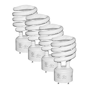 SleekLighting - GU24 23Watt 2700K 1600lm 2 Prong Light Bulbs- UL approved-120v 60Hz - Mini Twist Lock Spiral -Self Ballasted CFL Fluorescent Bulbs- 1600lm Warm White 4 Pack  100 Watt Equ