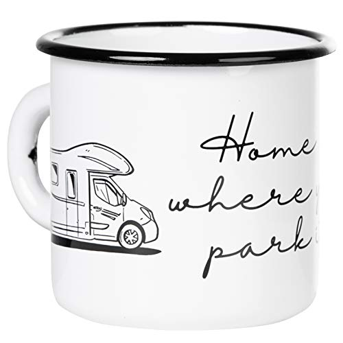 Mugsy I Emaille Tasse mit Spruch Home is where your park is - Weiß, 330 ml, Emaille Becher bruchfest (Wohnmobil Alkoven)