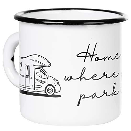 MUGSY.de - Taza esmaltada con texto en inglés 'Home is where you park it' (ligera e irrompible, para camping y camping)