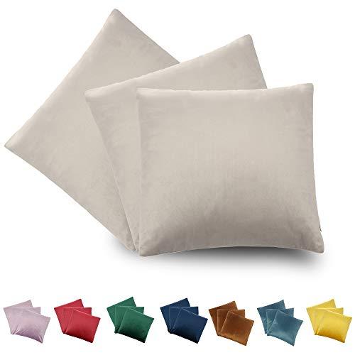 CALIYO - Funda de cojín de Terciopelo, Universal, 2 o 3 Fundas de Almohada para Cojines Decorativos, Cojines de sofá, Cojines de sofá, 45 x 45 cm, Muchos Colores, Gris Claro-2, 40 x 40 cm