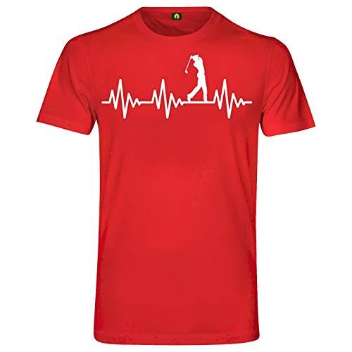 Herzschlag Golf T-Shirt | EKG | Golfspiel | Golfsport | Golfplatz | Ball | Rasen Rot S