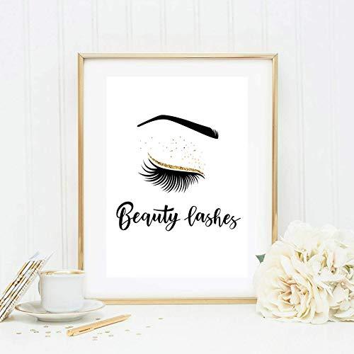 Din A4 Kunstdruck ungerahmt Beauty Lashes, Make up, Kosmetik, Wimpern, Wimpernverlängerung Typographie Beauty Salon Geschenk Druck Poster Bild