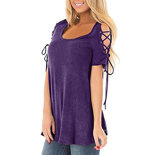 Toamen T-shirt à manches courtes Femmes Chemises décontractés Tunique habillée Conception Cordon (XL, Violet)