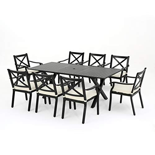 Christopher Knight Home 301105 Eowyn 9 Piece Cast Aluminum Outdoor Dining Set with Expandable Table, Black