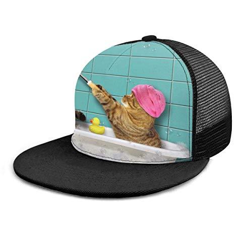 Baseball Cap Badekatze Schaumbad in der Badewanne Selfies lustige Kätzchen 3D gedruckt einstellbare Baseball Caps Unisex Hip Hop Snapback Flatbrim Hüte schwarz