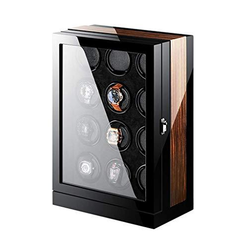 GLXLSBZ Reloj enrollador Pantalla táctil Motor silencioso de Japón Acabado de Piano de Madera Caja automática Espacios de bobinado con LED Elegante escaparate (Tamaño: 12 + 0)