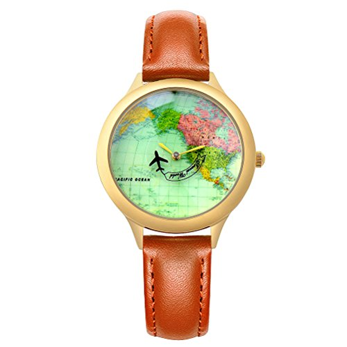 Moving Airplane Women's Causal Wrist Watch for Girls Ladies with Vintage World Map Brown Leather Strap