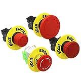 Kfdzsw Interruptores de botón Cambio de botón de Parada de Emergencia de la Cabeza de la Seta roja de 22 mm XB2 Lay37 No/NC Alarma Interruptor de botón (Color : NO)