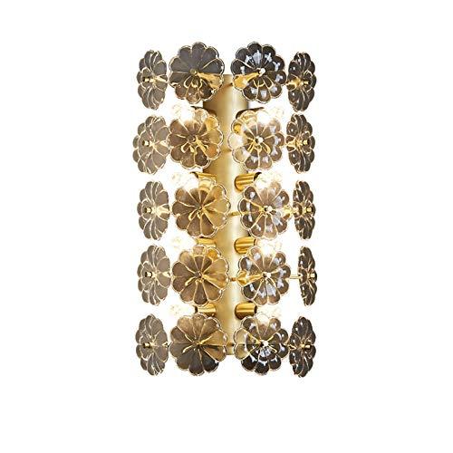 G9 Postmodernista Latón Apliques De Pared,Creativo 8-luces Cristal Flores Iluminación De Pared,Decoración Lampara De Pared Para Dormitorio Comedor-Latón 25x43cm(10x17inch)