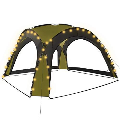 vidaXL Partyzelt mit LED 4 Seitenwänden UV-beständig Wasserbeständig Solar Garten Pavillon Gartenzelt Gartenpavillon Camping 3,6x3,6x2,3m Grün