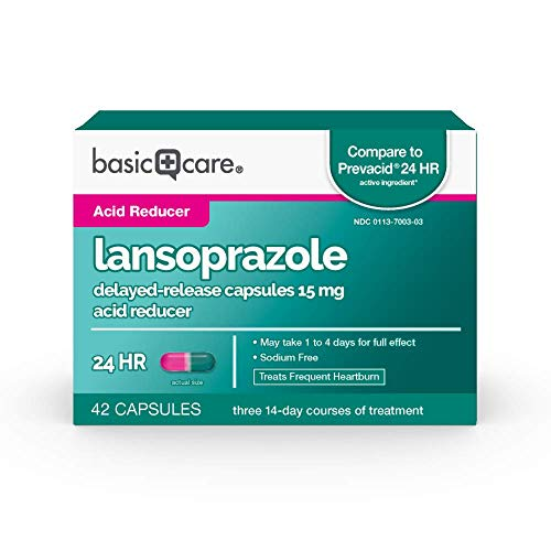 Basic Care Lansoprazole Delayed Release Capsules, 15 mg, Treats Frequent Heartburn, 42 Count