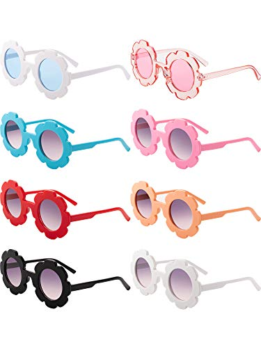 8 Pieces Kids Sunglasses Cute Round Sunglasses Flower Shaped Sunglasses for Boys Girls Party Accessories (Color 1)