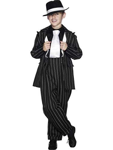Smiffys 25600T Zoot Anzug Kostüm, Unisex, Schwarz, Teen Boy-12 Years +