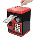 Totola Piggy Bank Electronic Mini ATM for Kids Baby Toy, Safe Coin Banks Money Saving Box Password Code Lock for Children,Boys Girls Best Gift(Red)