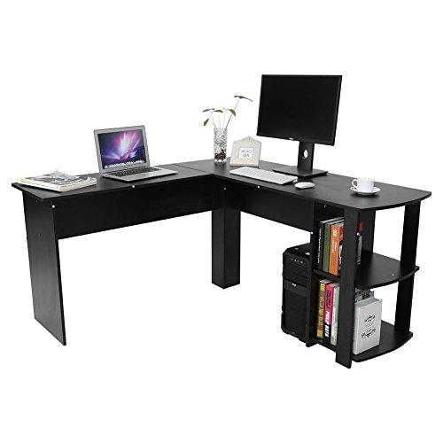 Greensen Eckschreibtisch PC-Tisch Eckschreibtisch Möbel Schreibtisch mit Regal Kombination Winkelkombination Bürotisch 136 x 130 x 72cm, 2 Farben, Schwarz, Weiß (Schwarz)