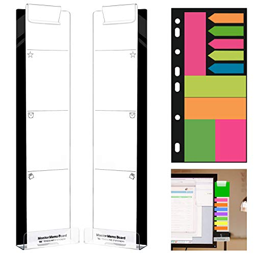 PowerKing Multifunction Clear Computer Monitor Memo Boards, Set of 2 (Left & Right) Acrylic Screen Message Pad Side Panel Phone Holder, Utility Organizer for Office Desktop, with 1 Pack Sticky Notes