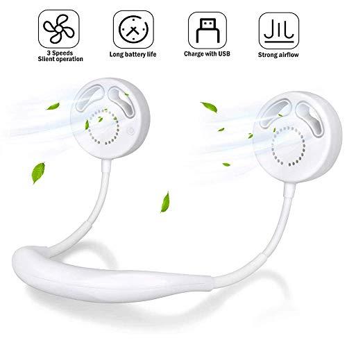 MILIER Mini Ventiladores USB 2020 Nuevo Ventilador de Cuello Ventilador sin Cuchilla Ventilador Manos Libres Ventilador Personal portátil para Acampar al Aire Libre Deportivo (Blanco)