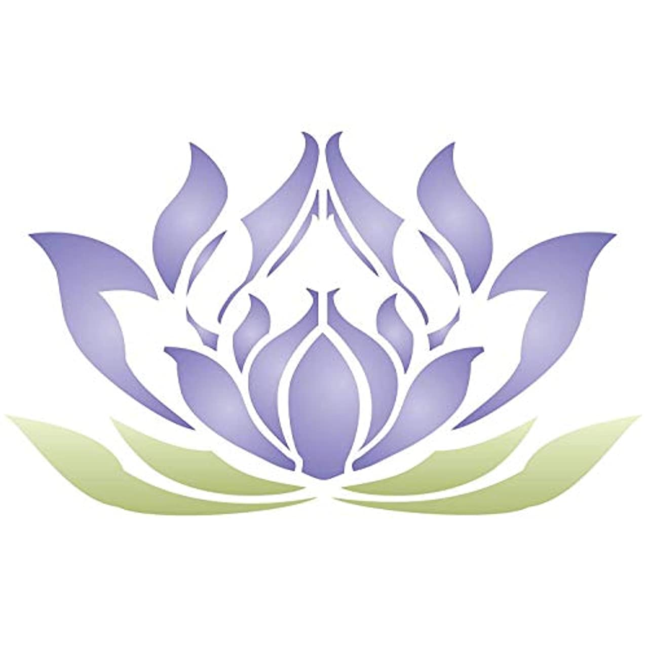"""Lotus Flower Stencil - (size 5""""w x 3""""h) Reusable Wall Stencils for Painting - Best Quality Lotus Blossom Ideas - Use on Walls, Floors, Fabrics, Glass, Wood, Terracotta, and More…"""
