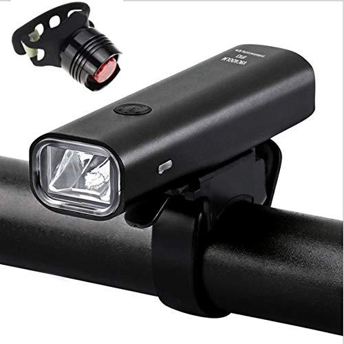 LED Fahrradlicht Set, USB Wiederaufladbare Frontlicht und Rücklicht Set, StVZO Zugelassen Fahrradbeleuchtung, Fahrradlampe Fahrrad Vorderlicht, 3 Licht-Modi mit USB Kabel für Mountainbike