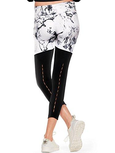 Victoria's Secret PINK NEW Ultimate Bar Tacked Ankle Legging Color Black/White Marble (Medium)