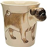 b2see Mops-Hund-e-Tasse Tier Tasse-3d-mit-Hund-emotiv Hunde-Kopf-Bild 14 x 15 x 10 cm