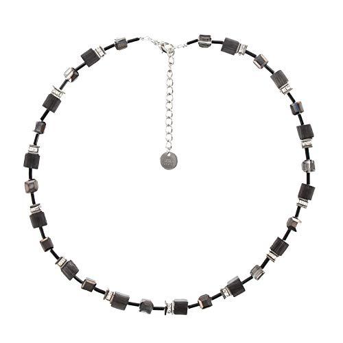Leslii Damen Kette Polaris, Kurze Glitzer Würfel Halskette in schwarz und grau, Modeschmuck Collier mit Strassstein Würfeln