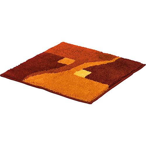 Erwin Müller WC-Vorlage ohne Ausschnitt, rutschhemmend Terra Größe 50x50 cm - kuscheliger Hochflor, für Fußbodenheizung geeignet