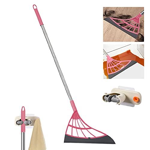 Multifunction Magic Broom, 2-in-1 Universal Wiping Sweeper Silicone Broom with Scraper, Bathroom Wiper Broom is Used for Tiles, Glass, Wiper, Hardwood Floor. (Pink)