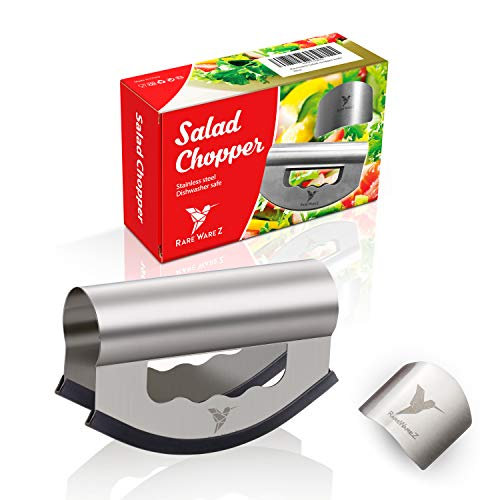 Salad Chopper Knife with Double Blade – Stainless Steel Sharp Mezzaluna Cutter and Mincer for Home Kitchen – Multipurpose Herb Crescent Rocking Hand Slicer for Easy Vegetable Mincing