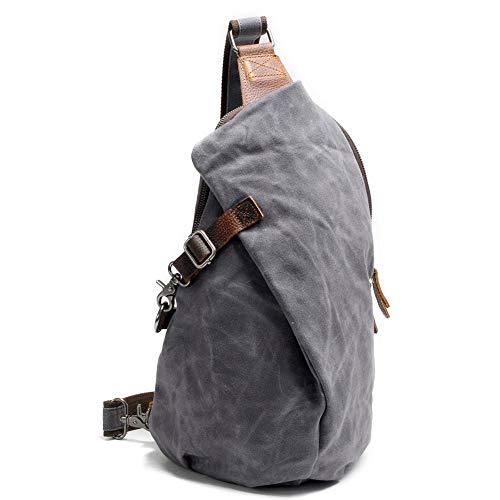 SYLL Waterproof Batik Cloth Backpack Retro Chest Bag Men's Canvas Shoulder Bag Casual Dumpling Type Backpack for Shopping Work Travel Husband Gifts,Dark gray