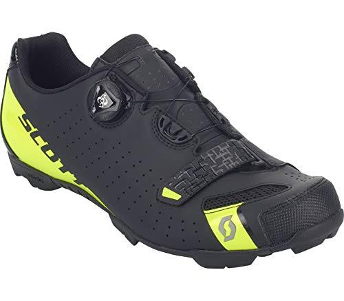 Scott Comp Boa, Chaussure de Course Tout Terrain Homme, Matt Black/Sulphur Yellow, 40 EU