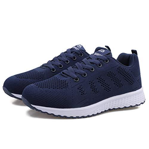 Mujer Entrenador Zapatos Gimnasio Deportes Atléticos Zapatillas de Deporte Malla Informal Zapatos para Caminar Encaje Plano Azul Oscuro EU 39