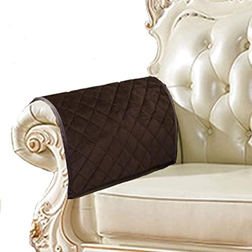 ADIS - Copribraccioli antiscivolo per divano, in pelle, trapuntati, per cani, bambini, animali domestici, venduti insieme da 2 pezzi (caffè 40,5 x 50,8 cm)