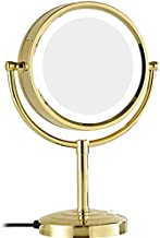 8 Inch LED Vanity Mirror With Lights ,3x/5x/7x/10x Magnification Bathroom Beauty Mirror with 21 LED Lights, 360 Rotating Function Shaving Mirror/Makeup Mirror (color : Gold, Size : 5x)