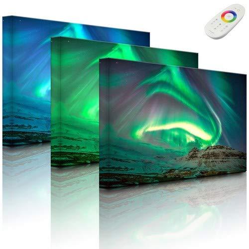 Lightbox-Multicolor | Leuchtendes LED Bild | Nordlichter über Island | 100x70 cm | Fully Lighted