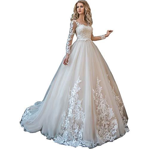 Rudina Women's Double V-Neck Lace Wedding Dress Long Sleeve Ruffles Applique Bridal Gown Blush,16 (Apparel)