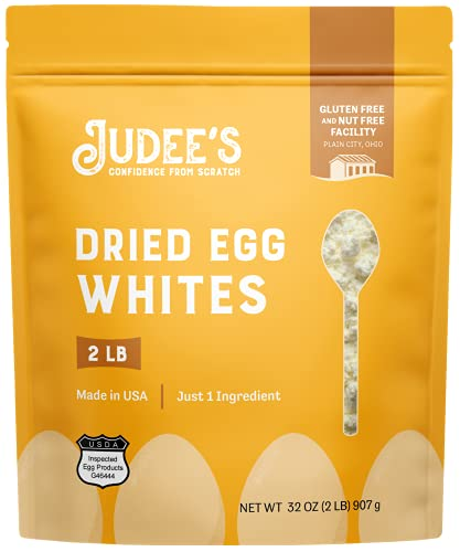 Judee's Dried Egg White Protein Powder 2lb - Pasteurized, USDA Certified, 100% Non-GMO, Gluten-Free & Nut-Free - Just One Ingredient - Made in USA - Use in Baking - Make Whipped Egg Whites