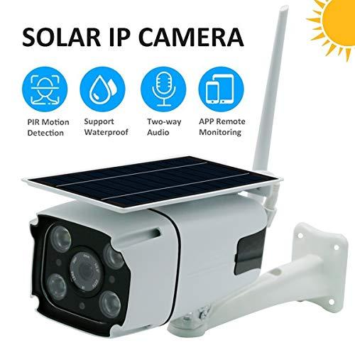 IP-camera buiten, bewakingscamera met zonnepaneel, 2-weg audio en SD-kaartsleuf voor buiten, gratis app en PC-client, 2019 versie