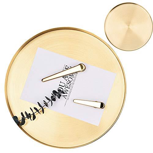 DXIA Vassio Rotondo in Acciaio Inox, Metallo Vassoio Decorativo in Oro, Ornamenti Vassoio di Gioielli Piatto da Portata, per la Casa, Cucina, Moderno,