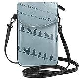 Just life Femmes petit sac à main pour téléphone portable bandoulière, bruant et oiseaux dans des couleurs vives sur le thème de célébration de fond uni