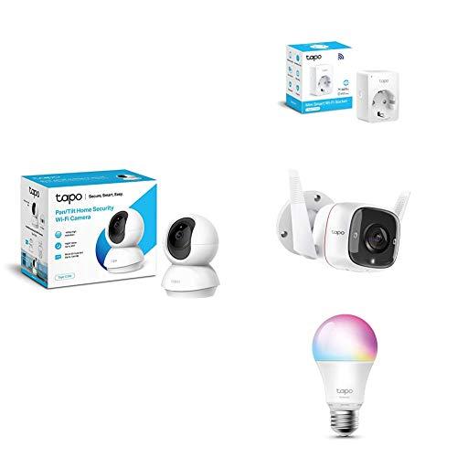 TP-Link - Cámara de Vigilancia + Cámara de Vigilancia Exterior/Interior + Bombilla LED + WiFi Enchufe